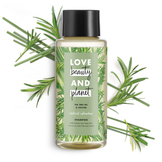 Front of shampoo pack Love Beauty Planet Tea Tree Oil & Vetiver Shampoo Radical Refresher 13.5oz