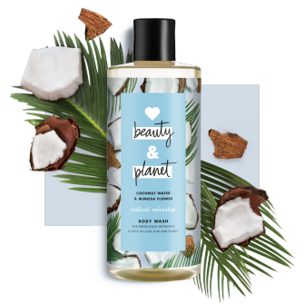 Front of body wash pack Love Beauty Planet Coconut Water & Mimosa Flower body wash Radical Refresher 500ml
