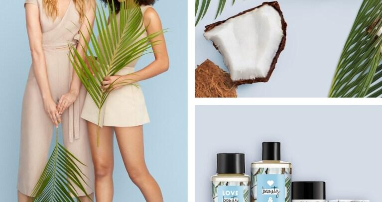 Kookospähkinän palasia ja lehtiä