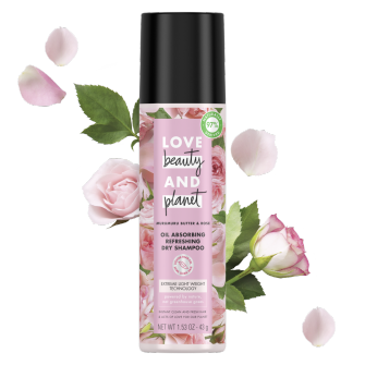 Front of pack dry shampoo Love Beauty and Planet Murumuru Butter & Rose 1.53oz
