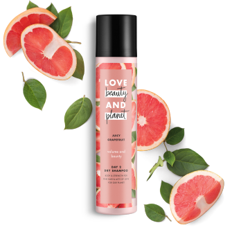 Front of dry shampoo pack Love Beauty Planet Juicy Grapefruit Dry Shampoo Volume & Bounty 4.3oz
