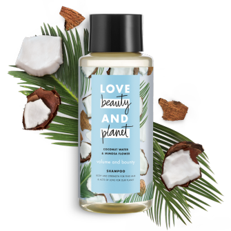 Front of shampoo pack Love Beauty Planet Coconut Water & Mimosa Flower Shampoo Volume & Bounty 13.5oz