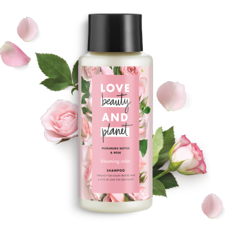 Front of shampoo pack Love Beauty Planet Murumuru Butter & Rose Oil Shampoo Blooming Color 13.5oz
