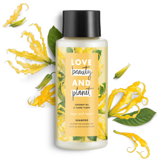 Front of shampoo pack Love Beauty Planet Coconut Oil & Ylang Ylang Shampoo Hope and Repair 13.5oz