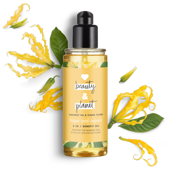 Frente del paquete del aceite para el cabello Love Beauty Planet Coconut Oil & Ylang Ylang Hair Oil Hope & Repair 4 oz