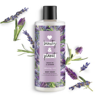 Front of body wash pack Love Beauty Planet Argan Oil & Lavender Body Wash Relaxing Rain 16oz