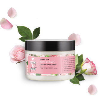 Front of body scrub pack Love Beauty Planet Sugar & Rose Creamy Body Scrub Peace and Glow 9.17oz