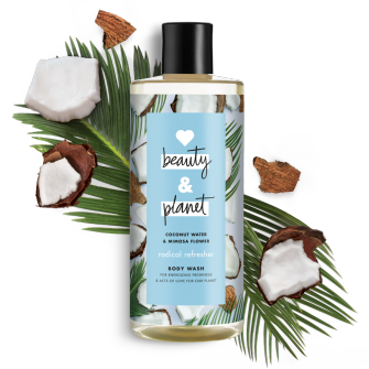 Frente del paquete del baño corporal Love Beauty Planet Coconut Water & Mimosa Flower Body Wash Radical Refresher 16 oz