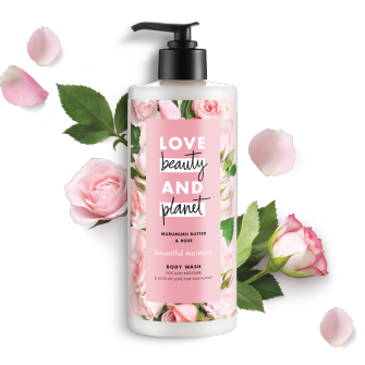 Front of body wash pack Love Beauty Planet Murumuru Butter & Rose Body Wash Bountiful Moisutre 16oz