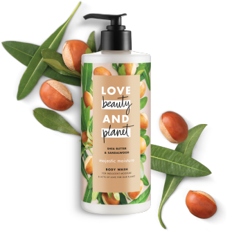 Frente del paquete de baño corporal Love Beauty Planet Shea Butter & Sandalwood Body Wash Majestic Moisture 16 oz
