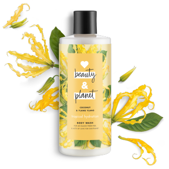 Frente del paquete del baño corporal Love Beauty Planet Coconut & Ylang Ylang Body Wash Tropical Hydration 16 oz