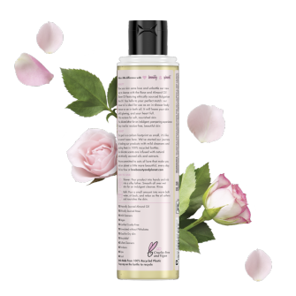 Back of shower oil pack Love Beauty and Planet Rose & Almond