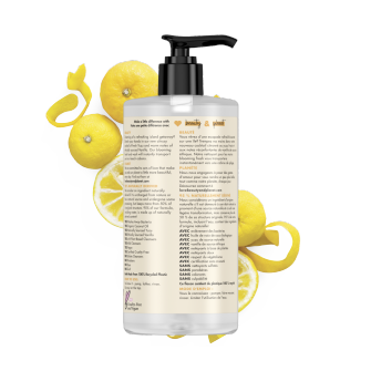 Back of liquid hand wash pack Love Beauty and Planet Yuzu & Vanilla
