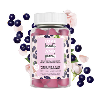 Front of gummy vitamin pack Love Beauty and Planet Berry Extraordinary