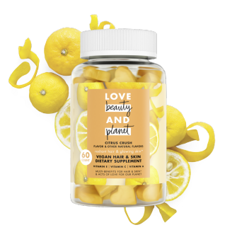 Front of gummy vitamin pack Love Beauty and Planet Citrus Crush