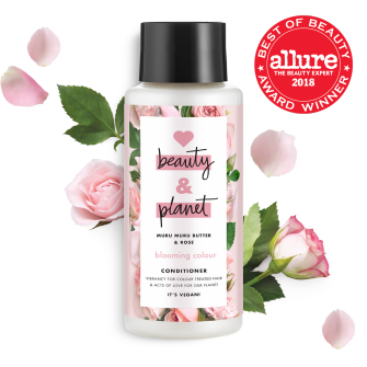 Front of conditioner pack Allure Best in Beauty 2018 Love Beauty Planet Murumuru Butter & Rose Oil Conditioner Blooming Color 13.5oz