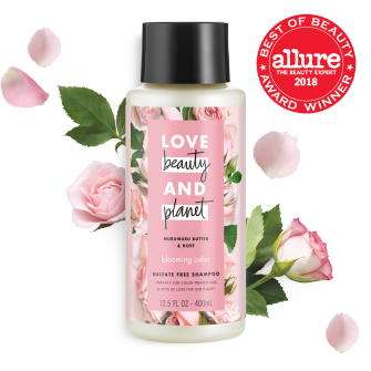 Front of shampoo pack Allure Best in Beauty 2018 Love Beauty Planet Murumuru Butter & Rose Oil Shampoo Blooming Color 13.5oz