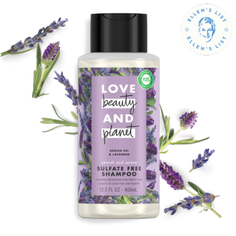 Front of shampoo pack Love Beauty Planet Sulfate Free Argan Oil & Lavender Shampoo Smooth & Serene 13.5oz with Ellen icon