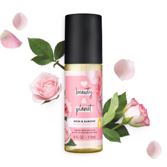 Front of oil pack Love Beauty Planet Rose & Almond Natural Oils Infusion 4oz