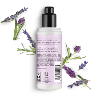 Parte trasera del paquete de Love Beauty Planet Argan Oil & Lavender Leave In Conditioner Smooth & Serene de 4 oz