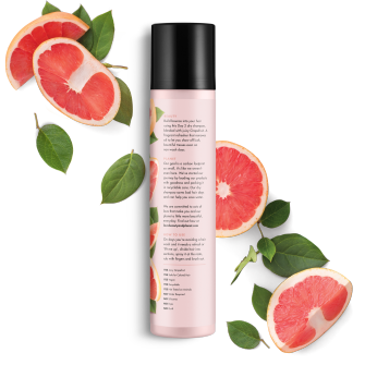 Back of dry shampoo pack Love Beauty Planet Juicy Grapefruit Dry Shampoo Volume & Bounty 4.3oz