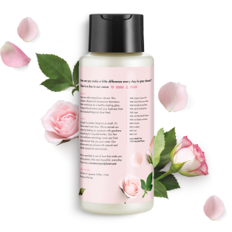 Back of shampoo pack Love Beauty Planet Murumuru Butter & Rose Oil Shampoo Blooming Color 13.5oz