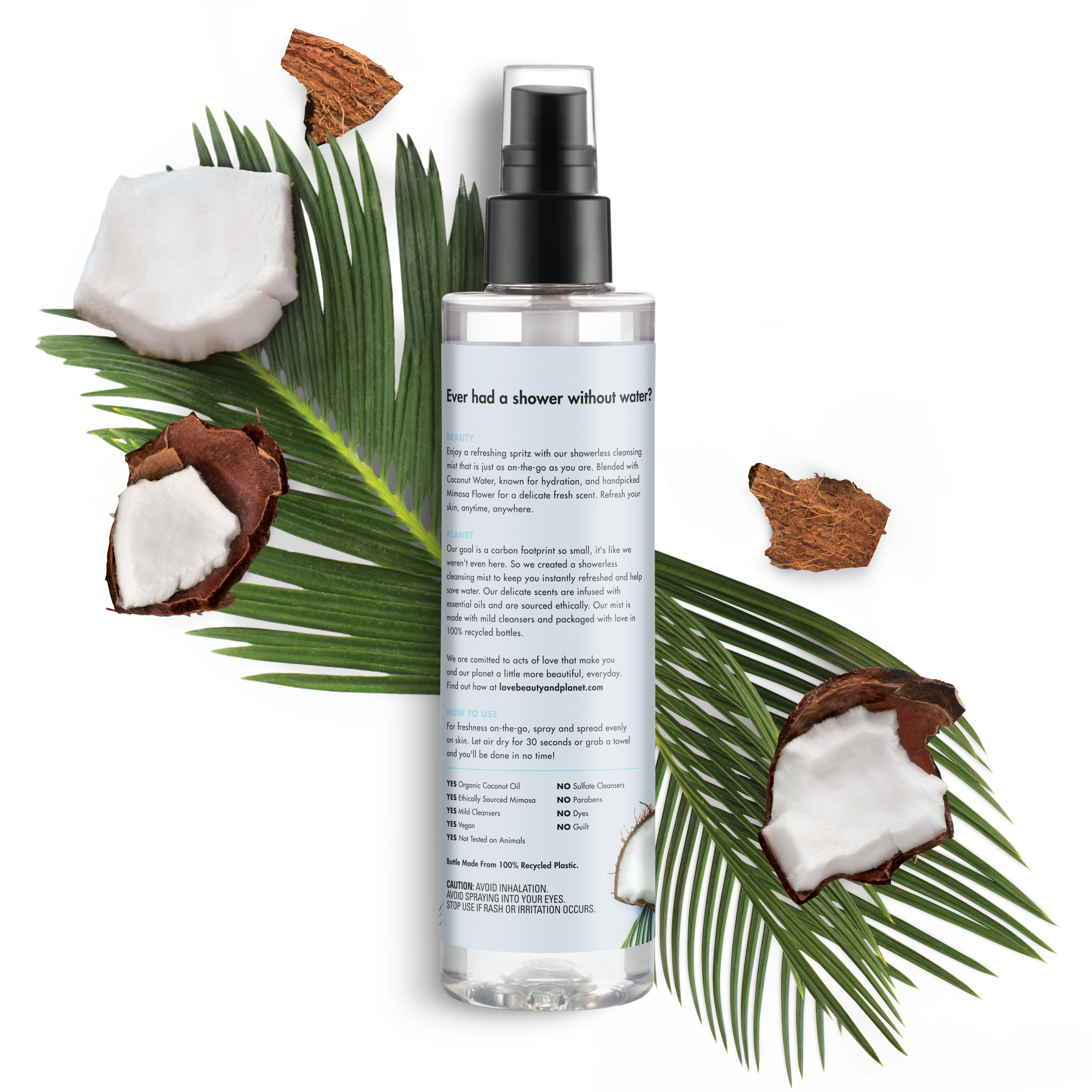 Beauty Water 100 Love And Planet Coconut Mimosa Flower Showerless Cleansing Body Mist Radical Refresher 67oz
