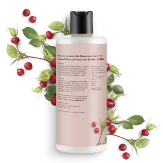 Back of body wash pack Love Beauty Planet Rosehip & Patchouli Body Wash Nurturing Nectar 16oz